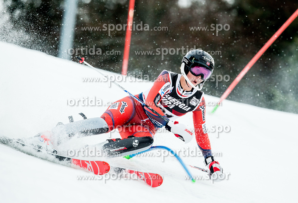 """Kristin Lysdahl (NOR) competes during 1st Run of FIS Alpine Ski World Cup 2017/18 Ladies' Slalom race named """"Snow Queen Trophy 2018"""", on January 3, 2018 in Course Crveni Spust at Sljeme hill, Zagreb, Croatia. Photo by Vid Ponikvar / Sportida"""