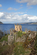 Urquhart Castle, built 13th - 16th centuries, on the shores of Loch Ness in the Great Glen, Highlands, Scotland. The castle was captured by Edward I of England in 1296 during the Wars of Scottish Independence and was destroyed by government troops in the Jacobite Risings. It is run by Historic Environment Scotland as a visitor attraction. Picture by Manuel Cohen