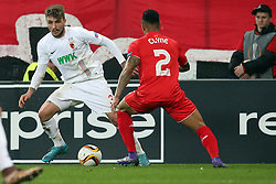 18.02.2016, WWKArena, Augsburg, GER, UEFA EL, FC Augsburg vs FC Liverpool, Sechzehntelfinale, Hinspiel, im Bild Konstantinos Stafylidis ( FC Augsburg ) rechts Nathaniel Clyne ( FC Liverpool ) // during the UEFA Europa League Round of 32, 1st Leg match between FC Augsburg and FC Liverpool at the WWKArena in Augsburg, Germany on 2016/02/18. EXPA Pictures © 2016, PhotoCredit: EXPA/ Eibner-Pressefoto/ Langer<br /> <br /> *****ATTENTION - OUT of GER*****