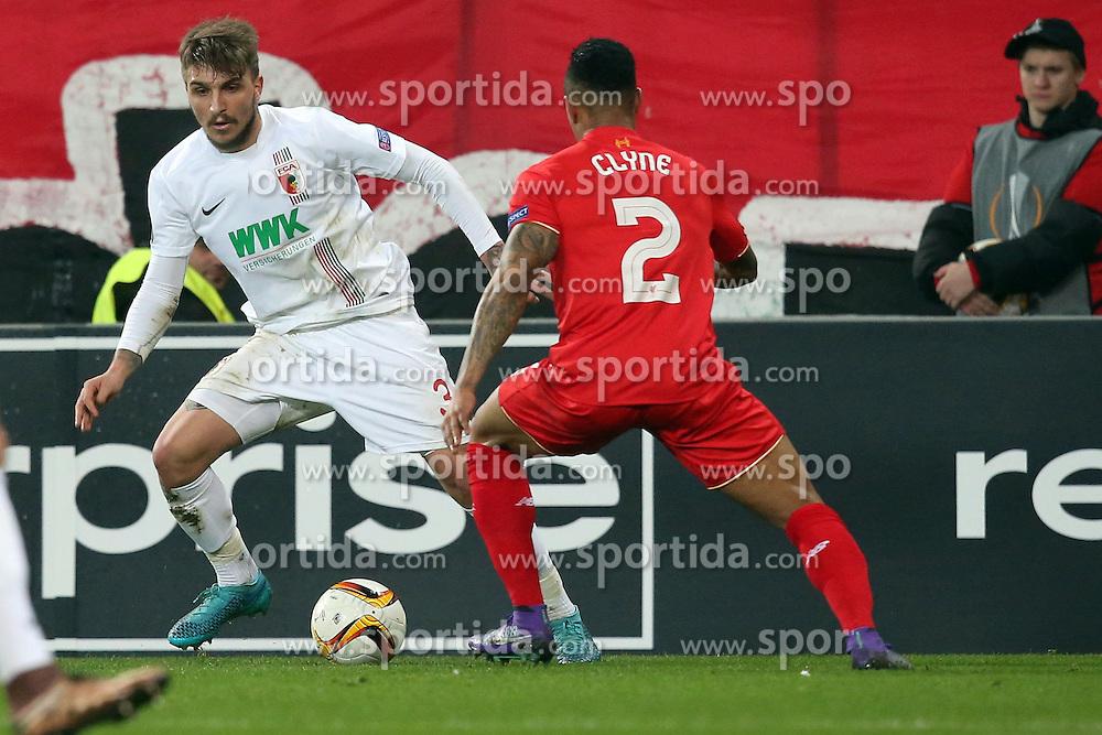 18.02.2016, WWKArena, Augsburg, GER, UEFA EL, FC Augsburg vs FC Liverpool, Sechzehntelfinale, Hinspiel, im Bild Konstantinos Stafylidis ( FC Augsburg ) rechts Nathaniel Clyne ( FC Liverpool ) // during the UEFA Europa League Round of 32, 1st Leg match between FC Augsburg and FC Liverpool at the WWKArena in Augsburg, Germany on 2016/02/18. EXPA Pictures © 2016, PhotoCredit: EXPA/ Eibner-Pressefoto/ Langer<br /> <br /> *****ATTENTION - OUT of GER*****