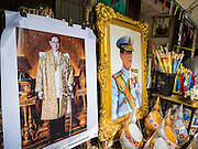 18 OCTOBER 2016 - BANGKOK, THAILAND:  Portraits of the late Bhumibol Adulyadej, the King of Thailand, and his son HRH Crown Prince Maha Vajiralongkorn. Crown Prince Vajiralongkorn is the heir apparent and will be coronated following his father's cremation. King Bhumibol Adulyadej died Oct. 13, 2016. He was 88. His death came after a period of failing health. Bhumibol Adulyadej was born in Cambridge, MA, on 5 December 1927. He was the ninth monarch of Thailand from the Chakri Dynasty and is also known as Rama IX. He became King on June 9, 1946 and served as King of Thailand for 70 years, 126 days. He was, at the time of his death, the world's longest-serving head of state and the longest-reigning monarch in Thai history.    PHOTO BY JACK KURTZ