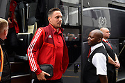 Phil Jagielka (15) of Sheffield United gets off the team bus on arrival at the Vitality Stadium ahead of the Premier League match between Bournemouth and Sheffield United at the Vitality Stadium, Bournemouth, England on 10 August 2019.