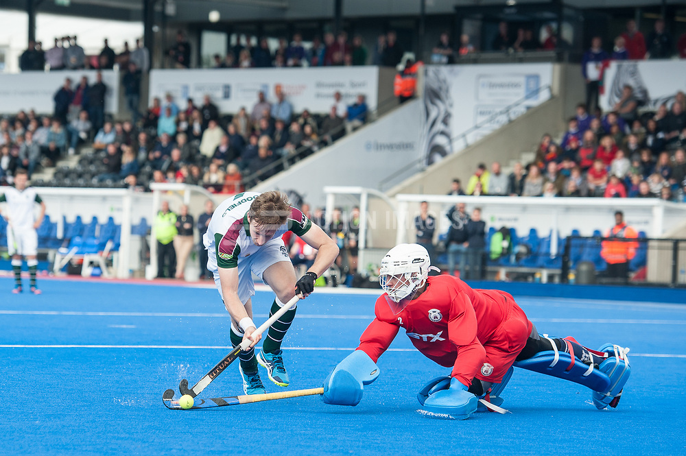 Surbiton's David Goodfield is denied by James Bailey of Wimbledon in the shoot out. Wimbledon v Surbiton - Men's Hockey League Final, Lee Valley Hockey & Tennis Centre, London, UK on 23 April 2017. Photo: Simon Parker