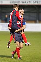 Ollie Rower celebrates his goal with Chris Shephard Eastbourne Borough Football Club