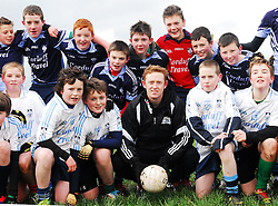 Days like these.....Four time All-Ireland Senior medal winner Colm 'The Gooch' Cooper and AIB's Youth Ambassador was visiting Mayo on friday. He spent almost two hours with the Rice College 1st year team, coaching and answering their many questions...Pic Conor McKeown