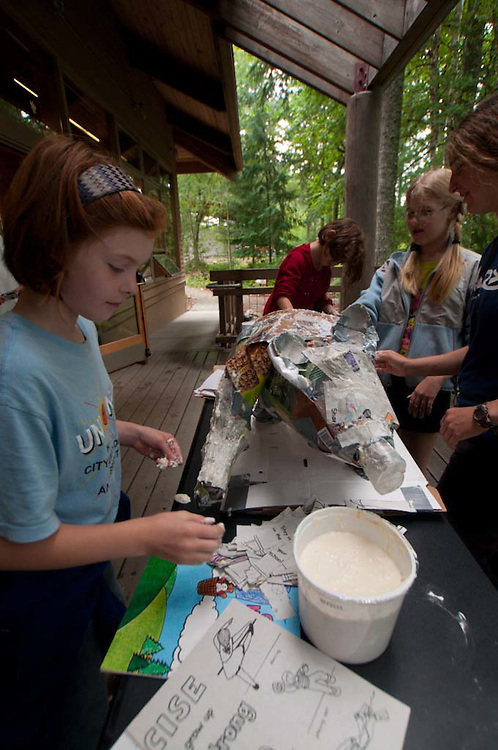 Kids Doing Paper Mache at North Cascades Institute Family Getaway Weekend, North Cascades National Park, Washington, US