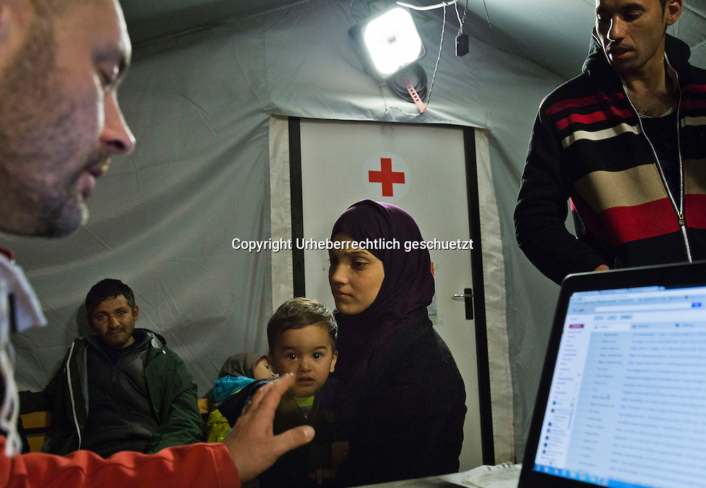 Greece, Idomeni, Refugees on their way to Europe,   Children in Idomeni<br /> <br /> Idomeni, is the eye of a needle for getting to nothern Europe. <br /> <br /> Registration of the patients <br /> Red Cross Team from Hungry during their shift at the Emergency Room, Hospital which is a small tent. Difficult cases will be taken to the hospitals in Polycastro or Thessaloniki.<br /> <br /> <br /> <br /> <br /> <br /> keine Veroeffentlichung unter 50 Euro*** Bitte auf moegliche weitere Vermerke achten***Maximale Online-Nutzungsdauer: 12 Monate !! <br /> <br /> for international use:<br /> Murat Tueremis<br /> C O M M E R Z  B A N K   A G , C o l o g n e ,  G e r m a n y<br /> IBAN: DE 04 370 800 40 033 99 679 00<br /> SWIFT-BIC: COBADEFFXXX