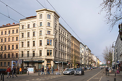 View along gentrified Katanienallee in Prenzlauer Berg, Berlin, Germany