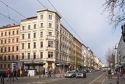 View along gentrified Katanienallee in Prenzlauer Berg, Berlin, Germany