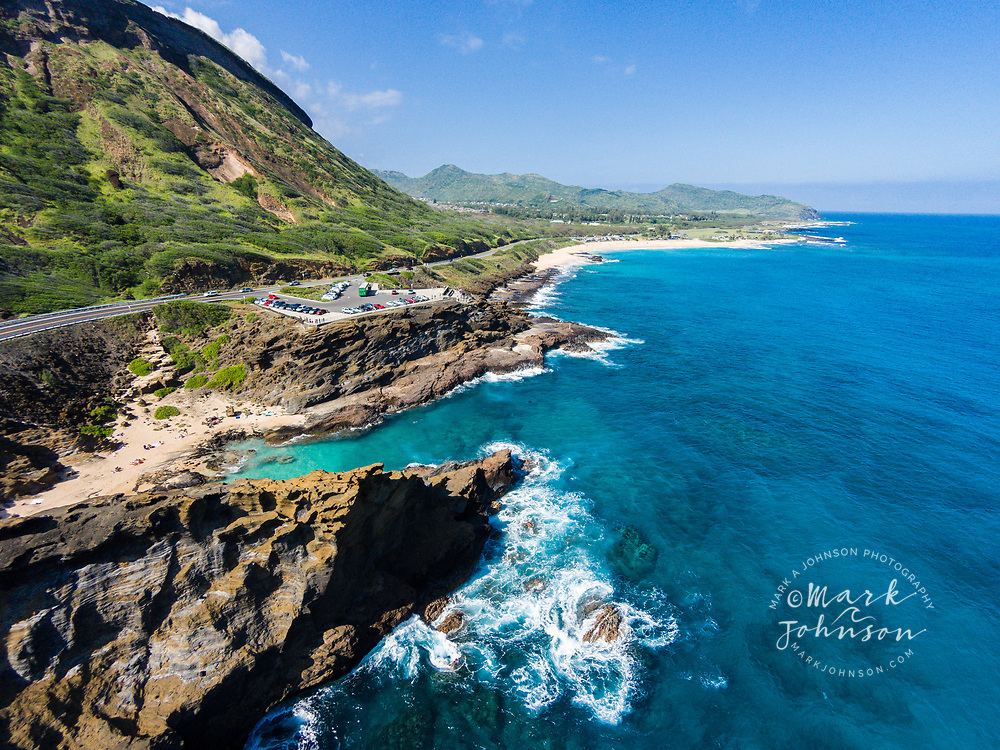 Aerial photograph of (from foreground to background): Halona Cove, Halona Blowhole, Sandy Beach, Wawamalu Beach Park & Makapu'u Point, Southeast Oahu Coast, Hawaii