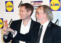 Aardman Animations, Merlin Crossingham, Morph, Peter Lord, British Comedy Awards, Fountain Studios, London UK, 16 December 2014, Photo by Richard Goldschmidt