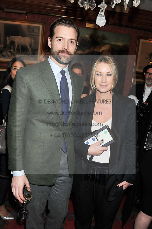 ANYA HINDMARCH and PATRICK GRANT at a party hosted by Justine Picardie, Editor-in-Chief of Harper's Bazaar UK and Glenda Bailey, Editor-in-Chief of Harper's Bazaar US to celebrate the end of London Fashion Week and the biggest-ever March issues of Harper's Bazaar, held at Mark's Club, Charles Street, London on 19th February 2013.