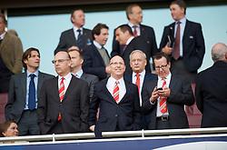 LONDON, ENGLAND - Tuesday, May 5, 2009: Manchester United's owners  Avram (L), JJoel Glazer (C) and Bryan Glazer (R) during the UEFA Champions League Semi-Final 2nd Leg match at the Emirates Stadium. (Photo by David Rawcliffe/Propaganda)
