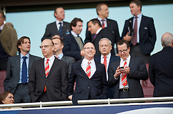 LONDON, ENGLAND - Tuesday, May 5, 2009: Manchester United's owners  Avram (L), JJoel Glazer (C) and Bryan Glazer (R) during the UEFA Champions League Semi-Final 2nd Leg match at the Emirates Stadium. (Photo by David Rawcliffe/Propaganda)
