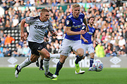Derby County forward Martyn Waghorn scores Derby's second goal  during the EFL Sky Bet Championship match between Derby County and Birmingham City at the Pride Park, Derby, England on 28 September 2019.