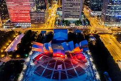 Jay Pritzker Pavilion high angle view, Millenium Park, loop/downtown, Chicago, Illinois.