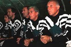 VLADIKAVKAZ, RUSSIA - Tuesday, September 12, 1995: Liverpool's manager Roy Evans with his staff (R-L) coach Ronnie Moran, assistant manager Doug Livermore, Dr Mark Waller against FC Alania Spartak Vladikavkaz during the UEFA Cup 1st Round 1st Leg match at the Republican Spartak Stadium. (Photo by David Rawcliffe/Propaganda)