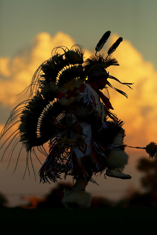 An Indian pow wow dancer performs at halftime Friday, Sept. 25, 2015 in Medicine Lodge.