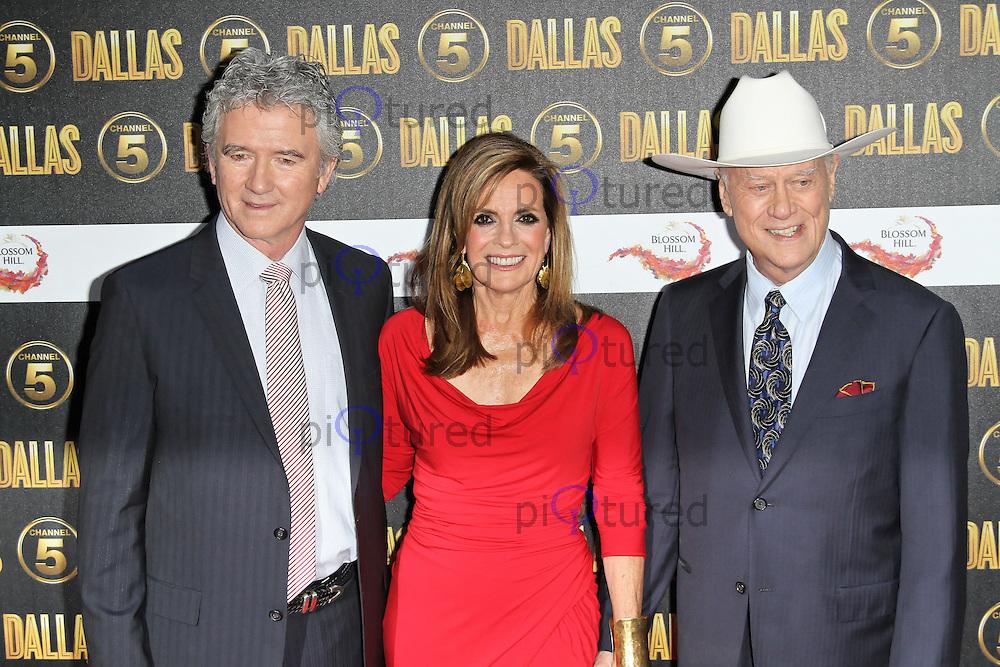 LONDON - AUGUST 21: Patrick Duffy; Linda Gray; Larry Hagman attended the Channel 5 Dallas Launch Party, Old Billingsgate Market, London. August 21, 2012. (Photo by Richard Goldschmidt)