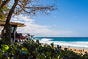 Lifeguards watching over the surfing action at  Banzai Pipeline, North Shore, Oahu, Hawaii