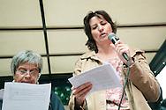 Contestazione al Jobs Act di Matteo Renzi. Manifestazione della Fiom. Sindacalista delle Comisiones Obreras spagnole. Milano, 8 ottobre 2014.