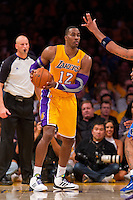 30 October 2012: Center (12) Dwight Howard of the Los Angeles Lakers looks to pass the ball against the Dallas Mavericks during the first half of the Mavericks 99-91 victory over the Lakers at the STAPLES Center in Los Angeles, CA.