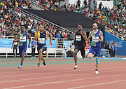 Jun 16, 2019; Rabat, Morocco; Andre De Grasse (CAN), second from left, wins the 200m in 20.19during the Meeting International Mohammed VI d'Athletisme de Rabat at Prince Moulay Abdellah Stadium. From left: Clarence Munyai (RSA), De Grasse, Kenneth Bednarek (USA) and Ramil Guliyev (TUR).