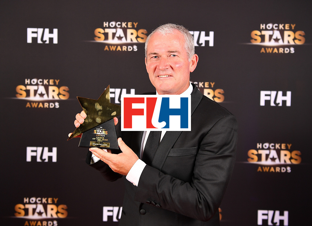 BERLIN, GERMANY - FEBRUARY 05:  Shane Mcleod  of New Zealand with his male oach of the year award during the Hockey Star Awards night at Stilwerk on February 5, 2018 in Berlin, Germany.  (Photo by Stuart Franklin/Getty Images For FIH)