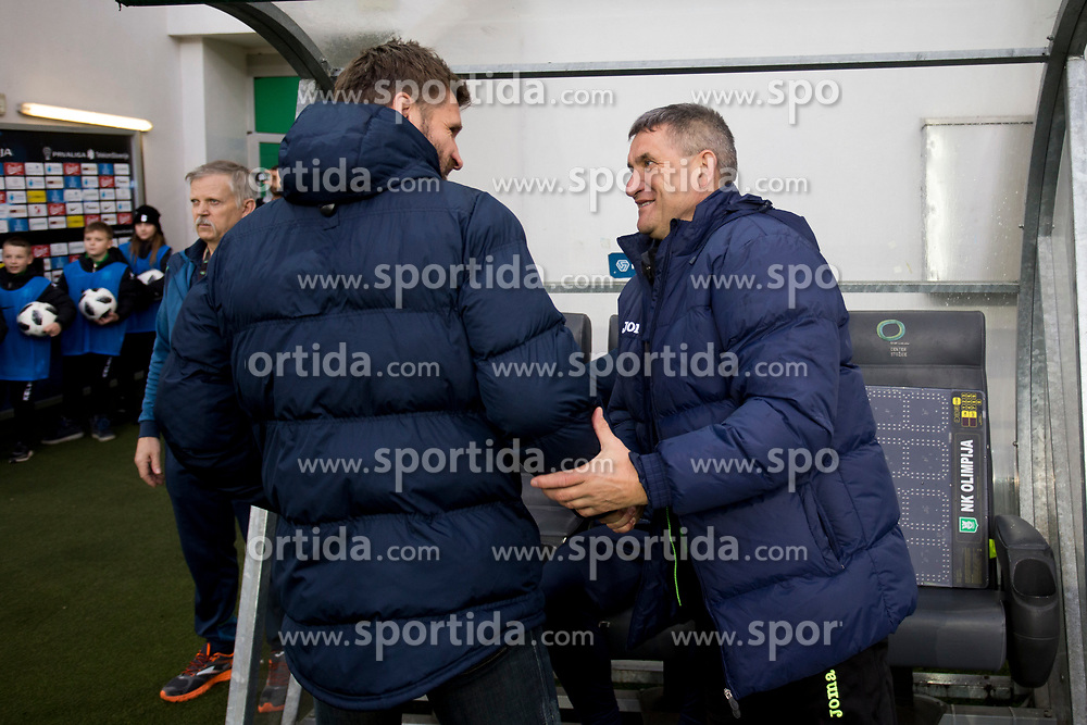 Igor Biscan, Head Coach of NK Olimpija Ljubljana and Marijan Pusnik, head coach of NK Rudar during football match between NK Olimpija Ljubljana and NK Rudar in Round #23 of Prva Liga Telekom Slovenije 2017/18, on March 14, 2018 in Arena Stozice, Ljubljana, Slovenia. Photo by Urban Urbanc / Sportida