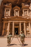 Petra, Jordan - May 11, 2013 Nabatean soldiers in front Al Khazneh or The Treasury in Nabatean Petra Jordan middle east