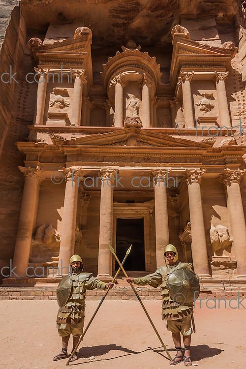 Petra, Jordan - May 11, 2013 Nabatean soldiers in front Al Khazneh or The Treasury in Nabatean Petra Jordan middle east