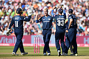 Luis Reece, Daryn Smit, Fynn Hudson-Prentice and Billy Godleman of Derbyshire Falcons celebrate the wicket of Ryan ten Doeschate during the Vitality T20 Finals Day 2019 match between Derbyshire Falcons and Essex Eagles at Edgbaston, Birmingham, United Kingdom on 21 September 2019.