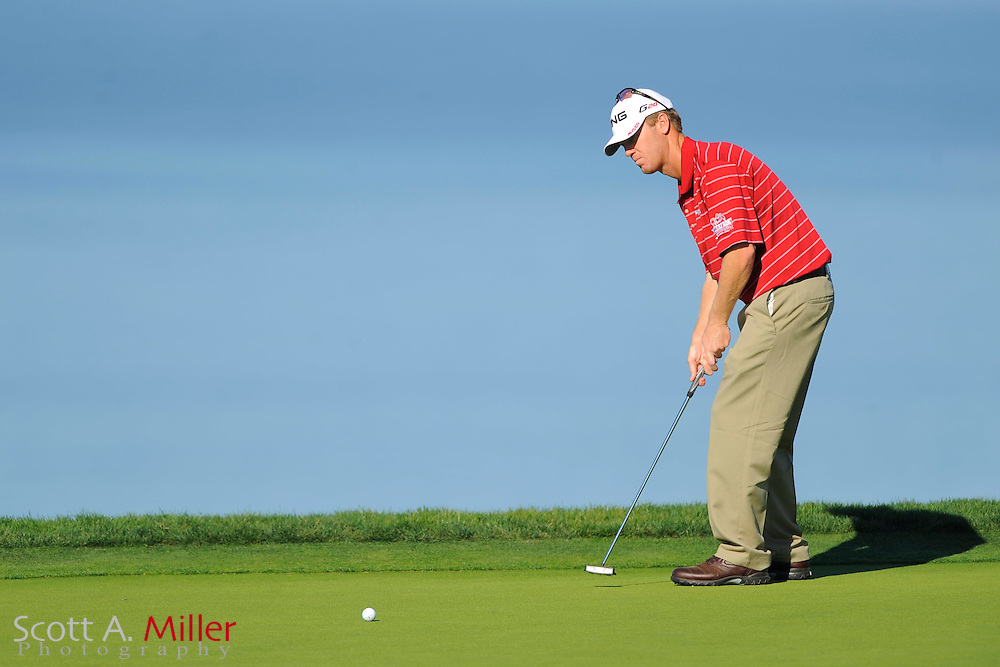 Chris Riley putts on the fourth hole during the final round of the Farmers Insurance Open on the South Course at Torrey Pines on Jan. 29, 2012 in La Jolla, California. ..©2012 Scott A. Miller