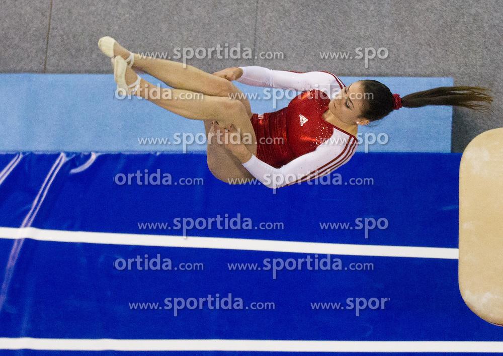 Elisa Haemmerle of Austria competes in the Vault during Final day 1 of Artistic Gymnastics World Cup Ljubljana, on April 27, 2013, in Hala Tivoli, Ljubljana, Slovenia. (Photo By Vid Ponikvar / Sportida.com)