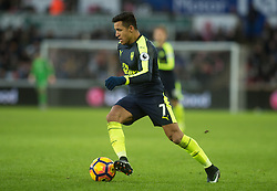SWANSEA, WALES - Saturday, January 14, 2017: <br /> Arsenal's Alexis Sanchez in action against Swansea City during the FA Premier League match at the Liberty Stadium. (Pic by Gwenno Davies/Propaganda)