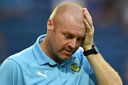 """Burnley manager Sean Dyche during a pre season friendly match at Deepdale, Preston. PRESS ASSOCIATION Photo. Picture date: Monday July 23, 2018. Photo credit should read: Antony Devlin/PA Wire. EDITORIAL USE ONLY No use with unauthorised audio, video, data, fixture lists, club/league logos or """"live"""" services. Online in-match use limited to 75 images, no video emulation. No use in betting, games or single club/league/player publications."""