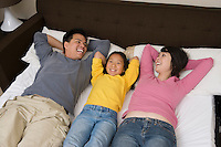 Mother, father and daughter lying down on bed and relaxing
