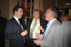 Left to right,  GEORGE OSBORNE, ADAM BOULTON and MICHAEL HOWARD at a party to celebrate the publication of Sandra Howard's book 'Ursula's Stor' held at The British Academy, 10 Carlton House Terace, London on 4th September 2007.<br />