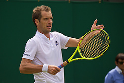 LONDON, ENGLAND - Tuesday, June 28, 2016: Richard Gasquet (FRA) during the Gentlemen's Singles 1st Round match on day two of the Wimbledon Lawn Tennis Championships at the All England Lawn Tennis and Croquet Club. (Pic by Kirsten Holst/Propaganda)