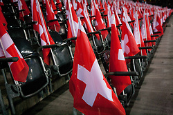 Flags of Switzerland during FIFA World Cup 2014 Group E qualification match between Switzerland and Slovenia on October 15, 2013 in STADE DE SUISSE, Bern, Switzerland. Switzerland defeated Slovenia 1-0 and Qualified for World Cup Brasil 2014. (Photo by Vid Ponikvar / Sportida)