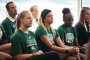 Student athletes listen to the new Athletic Director Julie Cromer speak at a press conference at Peden Stadium.