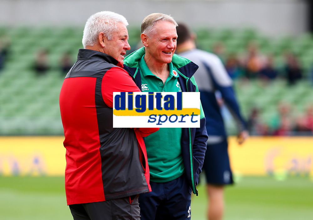 Rugby Union - 2019 pre-Rugby World Cup warm-up (Guinness Summer Series) - Ireland vs. Wales<br /> <br /> Ireland's Head Coach, Joe Schmidt meets Wales Head Coach, Warren Gatland, before the game at The Aviva Stadium.<br /> <br /> COLORSPORT/KEN SUTTON