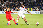 Jallet Christophe of Nice and Terrier Martin of Lyon during the French championship L1 football match between Olympique Lyonnais and Amiens on August 12th, 2018 at Groupama stadium in Decines Charpieu near Lyon, France - Photo Romain Biard / Isports / ProSportsImages / DPPI