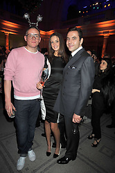 Left to right, GILES DEACON, VIOLET BUDD and DAVID WALLIAMS at Hats - an antology of Stephen Jones held at the V&A, London on 23rd February 2009.