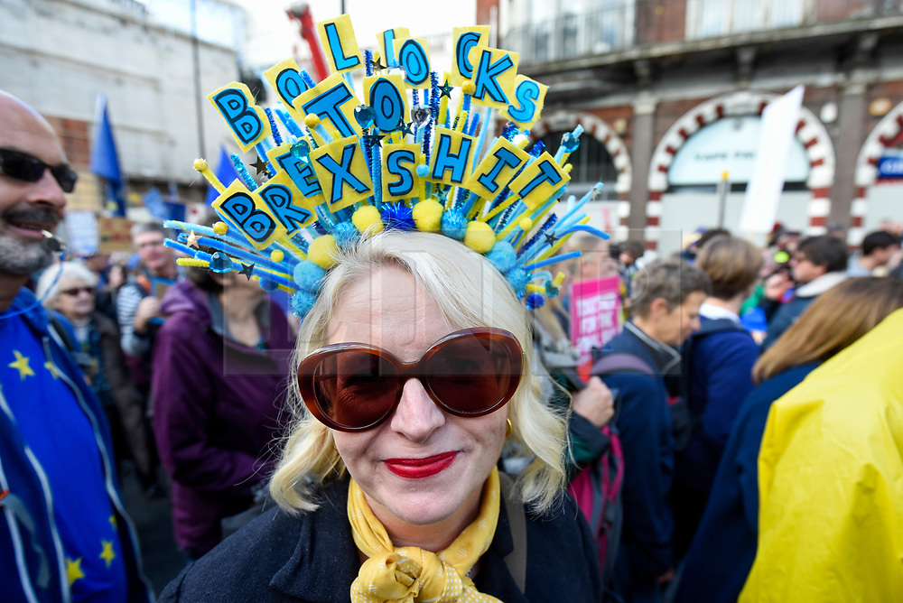 © Licensed to London News Pictures. 19/10/2019. LONDON, UK.  A protester takes part in the People's Vote March to demand a final say on Brexit.  Protesters carry banners and signs and are marching from Park Lane to a rally in Parliament Square.  Photo credit: Stephen Chung/LNP