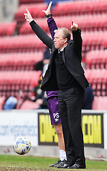 Derby County Manager, Steve McClaren appeals for a throw in - Photo mandatory by-line: Matt McNulty/JMP - Mobile: 07966 386802 - 06/04/2015 - SPORT - Football - Wigan - DW Stadium - Wigan Athletic v Derby County - SkyBet Championship