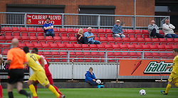 LLANELLI, WALES - Saturday, September 15, 2012: Supporters use their mobile phones as Llanelli take on Newtown during the Welsh Premier League match at Stebonheath Park. (Pic by David Rawcliffe/Propaganda)