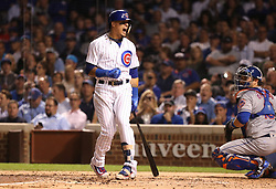 September 14, 2017 - Chicago, IL, USA - The Chicago Cubs' Javier Baez reacts after striking out in the third inning against the New York Mets at Wrigley Field in Chicago on Thursday, Sept. 14, 2017. (Credit Image: © Chris Sweda/TNS via ZUMA Wire)