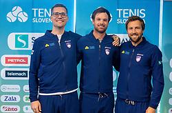 Miha Mlakar, Blaz Kavcic and Tom Kocevar Desman during press conference of Slovenian Tennis Men Team before Davis Cup against Pakistan, on February 27, 2020 in Kristalna palaca, Ljubljana, Slovenia. Photo by Vid Ponikvar / Sportida