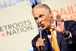 Gov. Jay Inslee  at Netroots Nation convention in Philadelphia, PA on July 13, 2019. Democratic Presidential hopefuls Sen. Elizabeth Warren, Sen. Kirsten Gillibrand, Sec. Julian Castro and Gov. Jay Inslee react to questions during the Daily Kos/Netroots Nation candidate forum at the Pennsylvania Convention Center.
